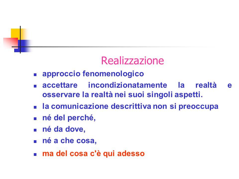 Realizzazione approccio fenomenologico