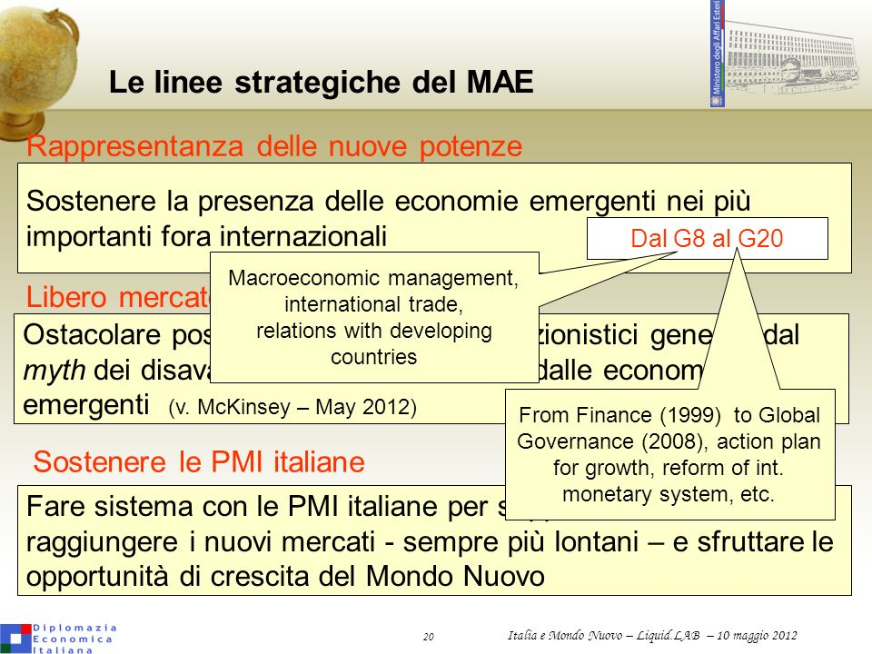 Le linee strategiche del MAE