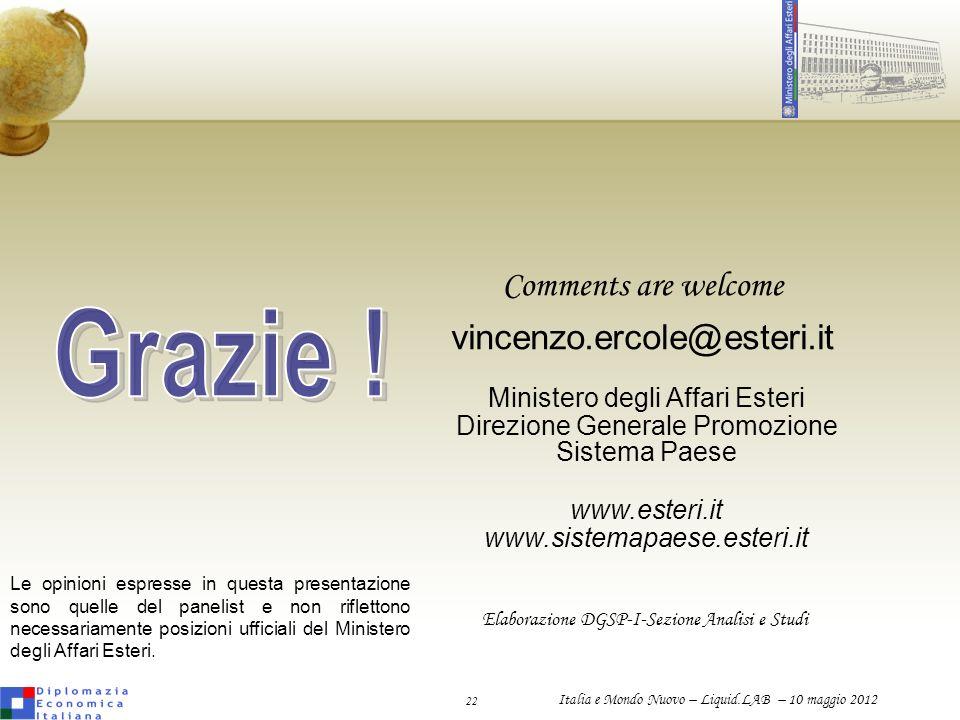 Grazie ! Comments are welcome vincenzo.ercole@esteri.it