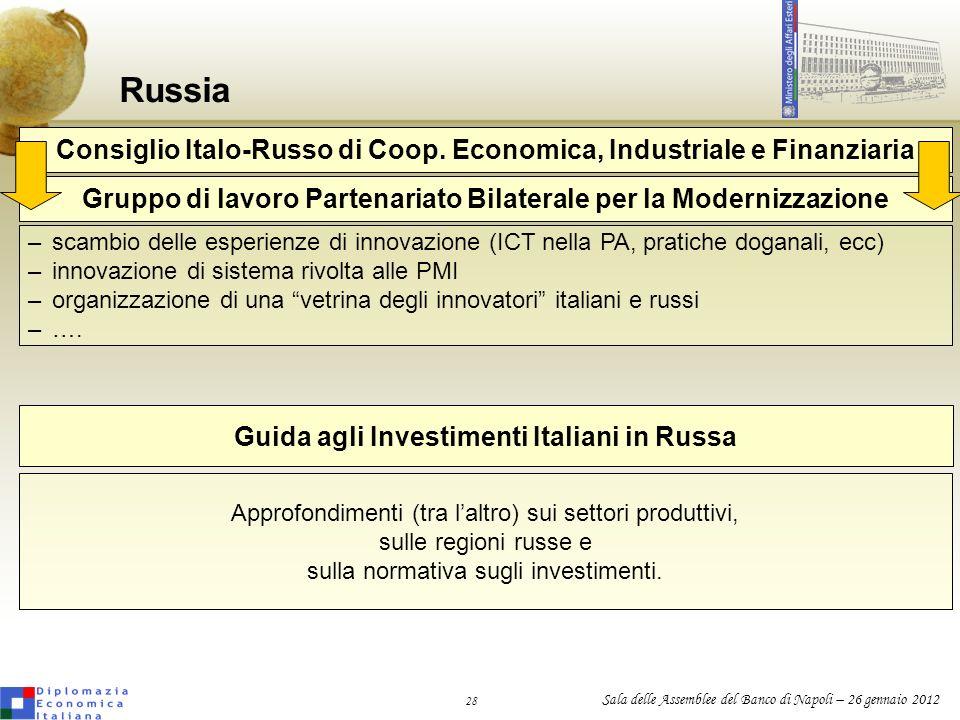 Russia Consiglio Italo-Russo di Coop. Economica, Industriale e Finanziaria. Gruppo di lavoro Partenariato Bilaterale per la Modernizzazione.