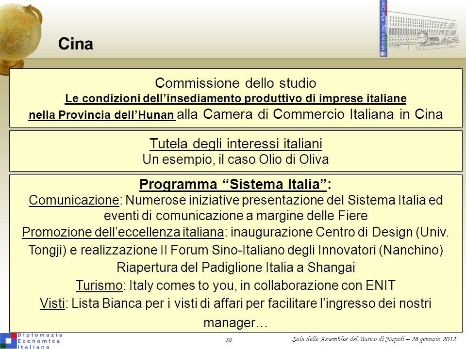 Cina Commissione dello studio Tutela degli interessi italiani