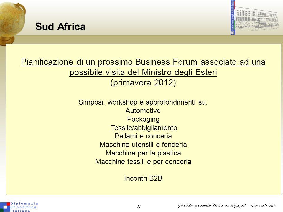 Sud Africa Pianificazione di un prossimo Business Forum associato ad una. possibile visita del Ministro degli Esteri.