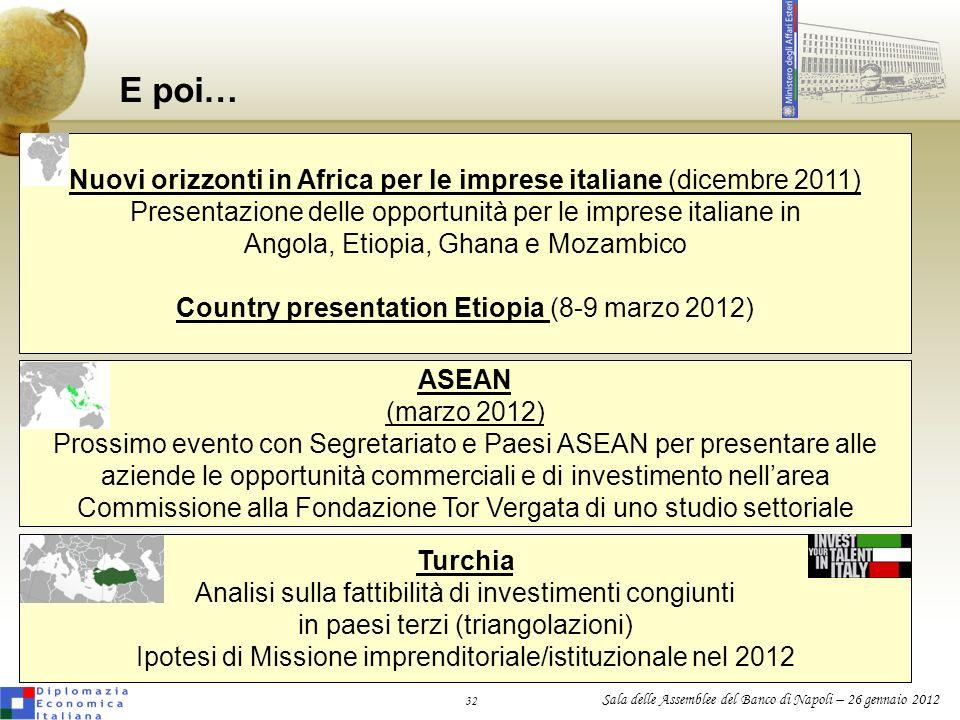 E poi… Nuovi orizzonti in Africa per le imprese italiane (dicembre 2011) Presentazione delle opportunità per le imprese italiane in.