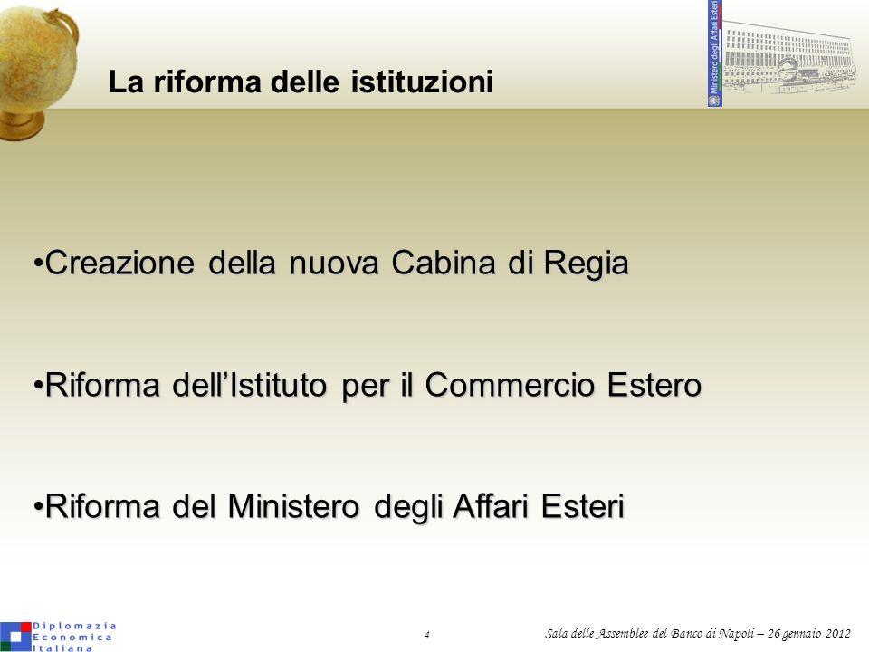 La riforma delle istituzioni