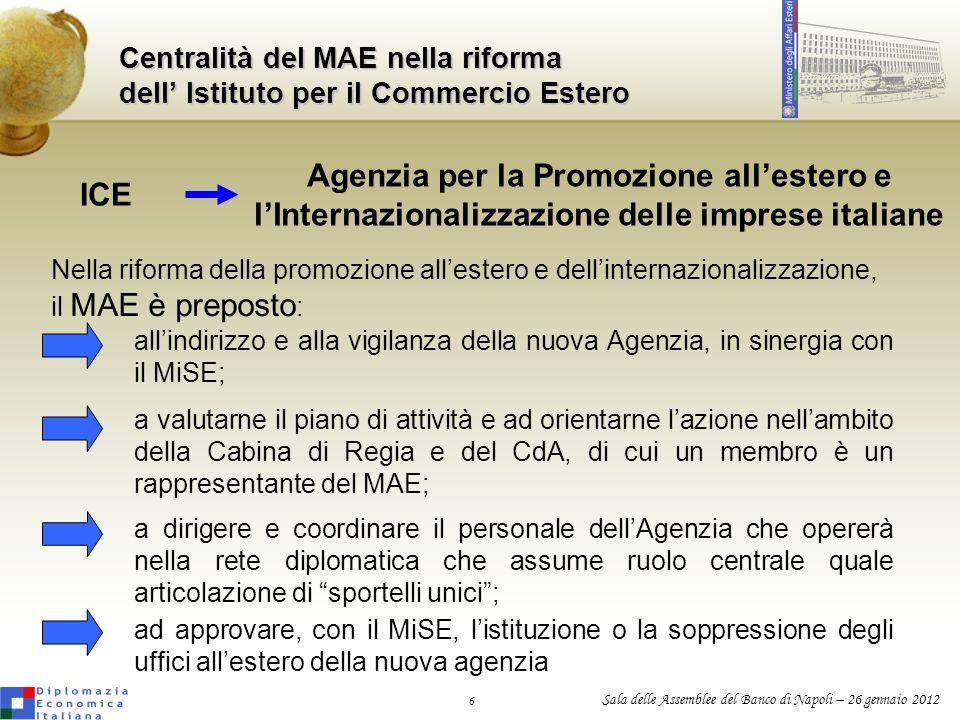 Centralità del MAE nella riforma dell' Istituto per il Commercio Estero