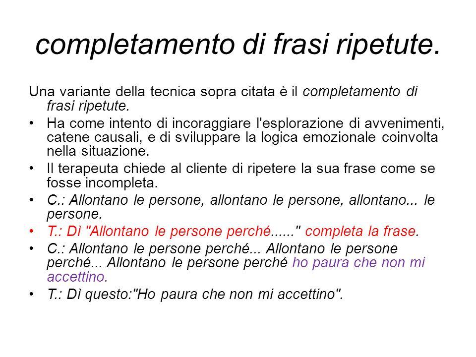 completamento di frasi ripetute.