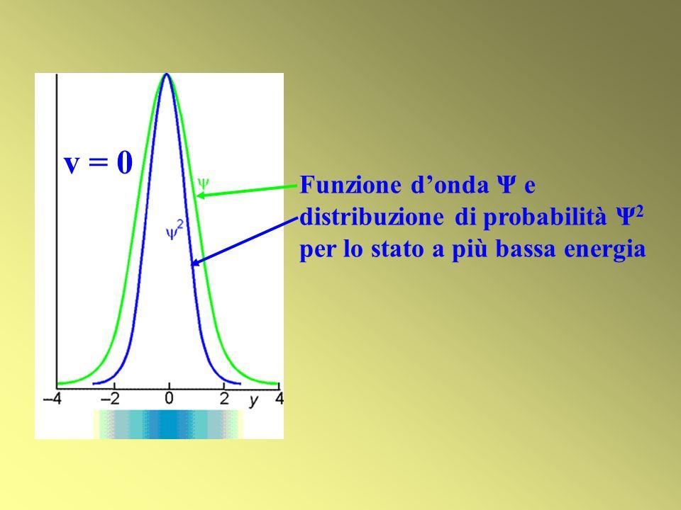 v = 0 Funzione d'onda Ψ e distribuzione di probabilità Ψ2 per lo stato a più bassa energia