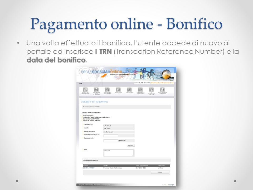 Pagamento online - Bonifico