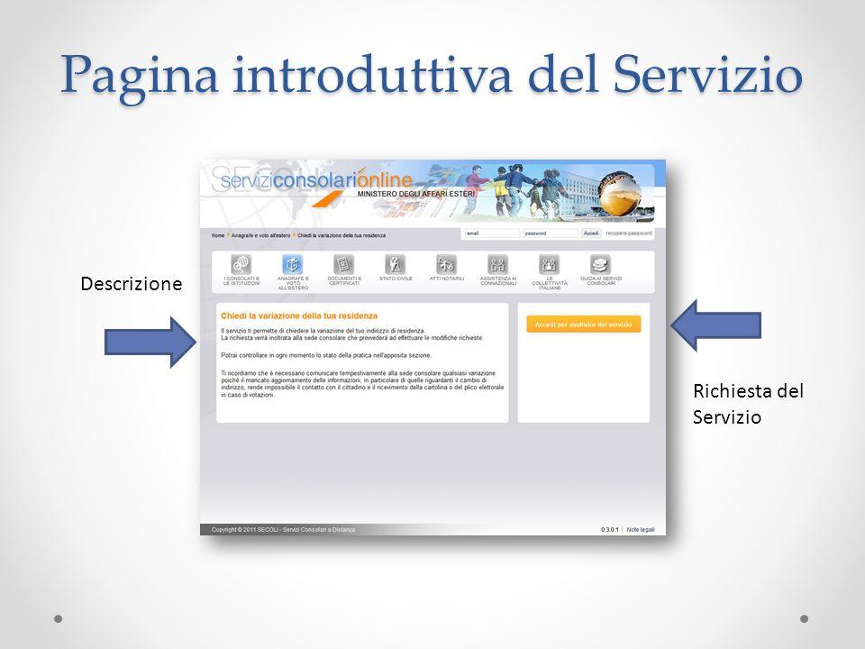 Pagina introduttiva del Servizio