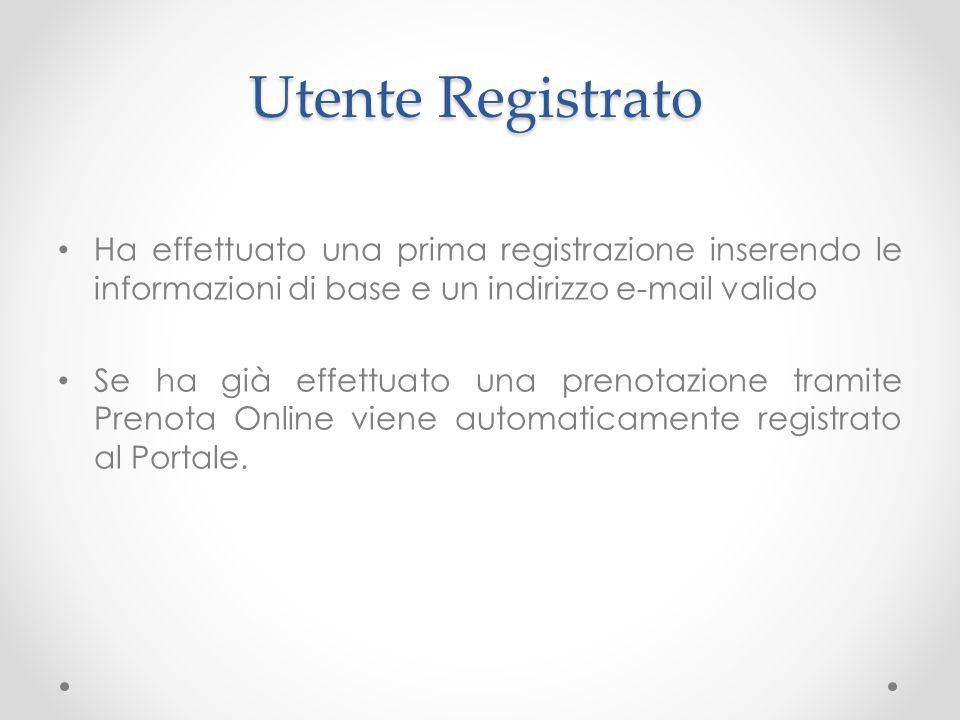 Utente Registrato Ha effettuato una prima registrazione inserendo le informazioni di base e un indirizzo e-mail valido.