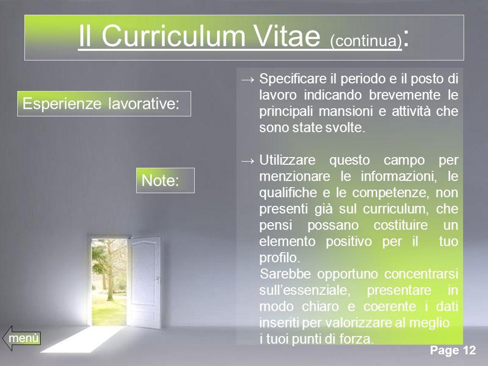 Il Curriculum Vitae (continua):