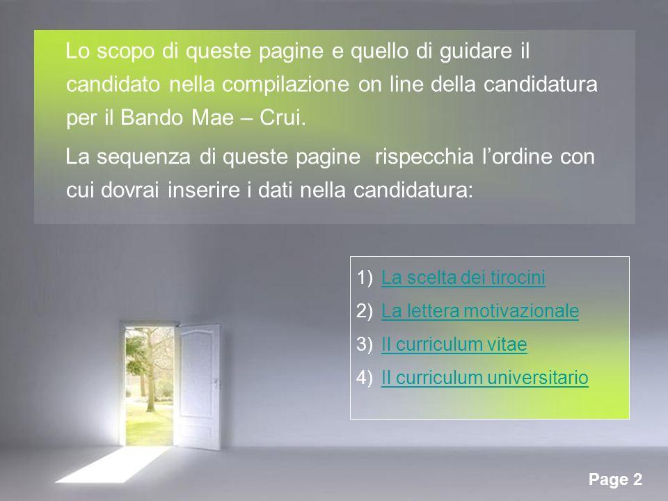 Lo scopo di queste pagine e quello di guidare il candidato nella compilazione on line della candidatura per il Bando Mae – Crui.