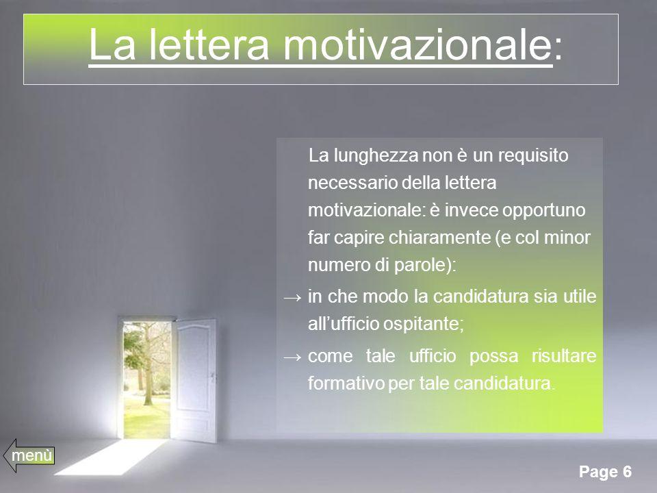 La lettera motivazionale: