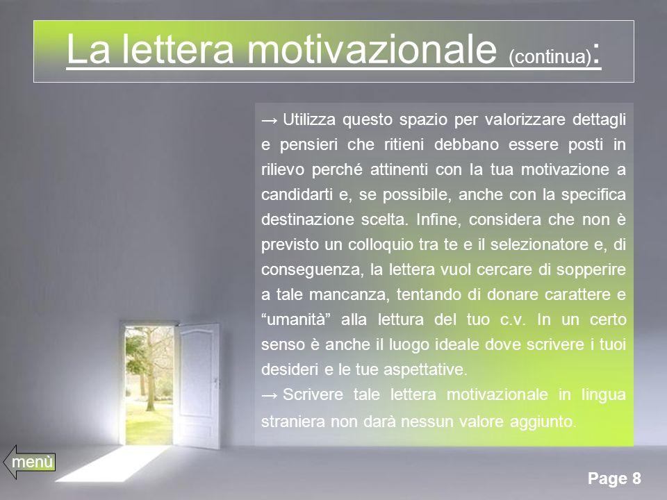 La lettera motivazionale (continua):