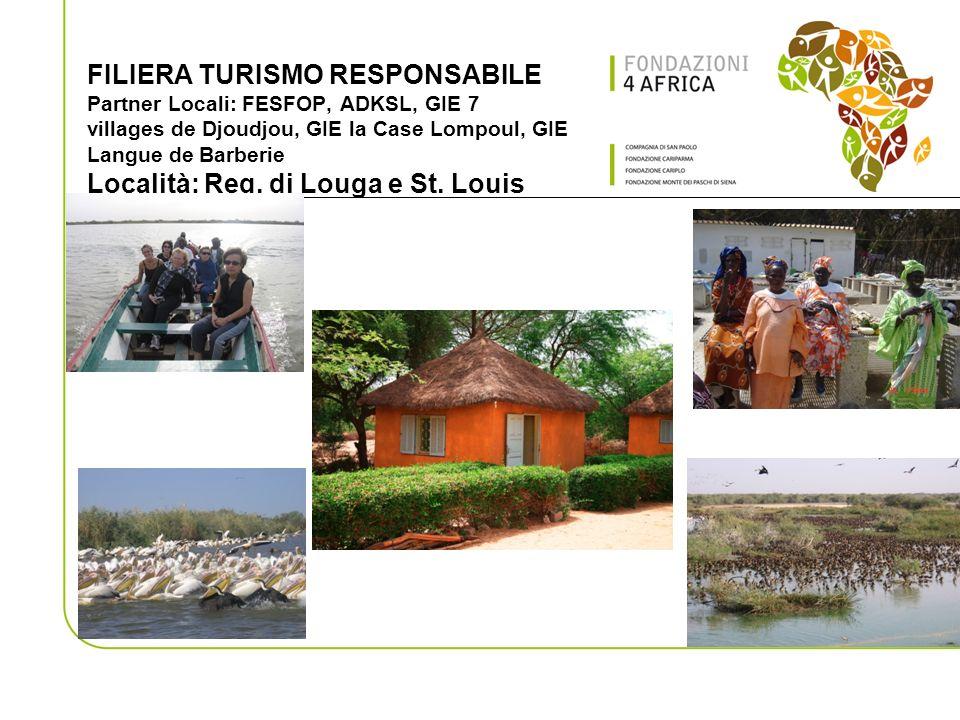 FILIERA TURISMO RESPONSABILE Partner Locali: FESFOP, ADKSL, GIE 7 villages de Djoudjou, GIE la Case Lompoul, GIE Langue de Barberie Località: Reg.