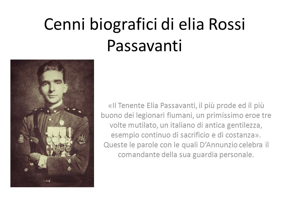 Cenni biografici di elia Rossi Passavanti