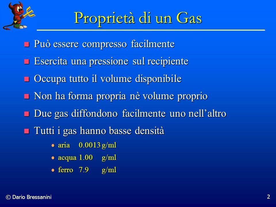 Proprietà di un Gas Può essere compresso facilmente