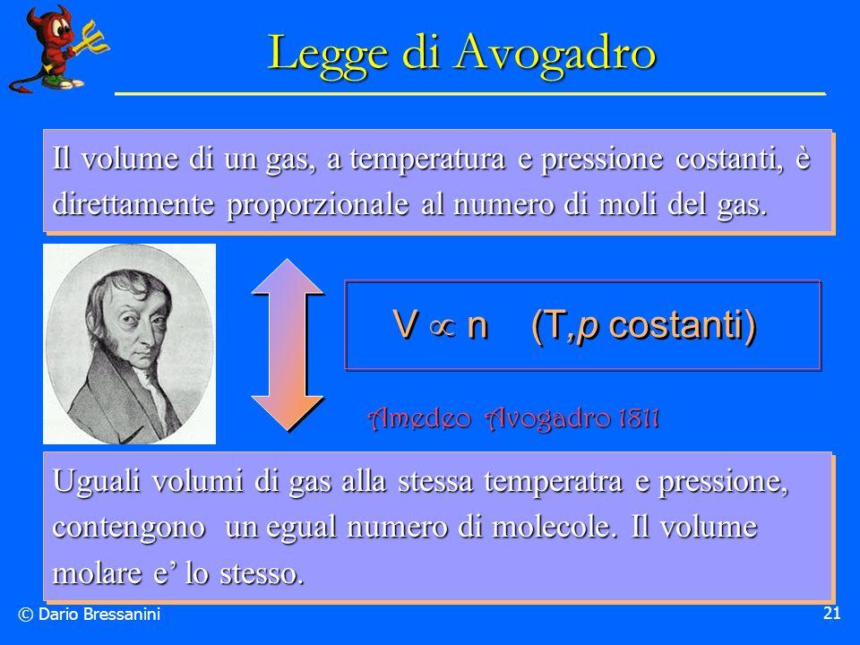 Legge di Avogadro V  n (T,p costanti)