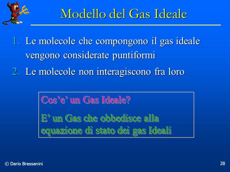 Modello del Gas Ideale Le molecole che compongono il gas ideale vengono considerate puntiformi. Le molecole non interagiscono fra loro.