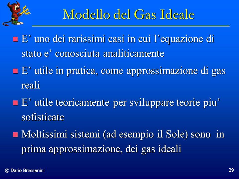 Modello del Gas Ideale E' uno dei rarissimi casi in cui l'equazione di stato e' conosciuta analiticamente.