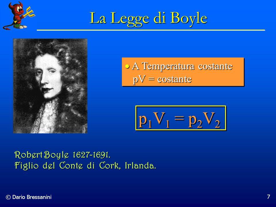 La Legge di Boyle p1V1 = p2V2 A Temperatura costante pV = costante