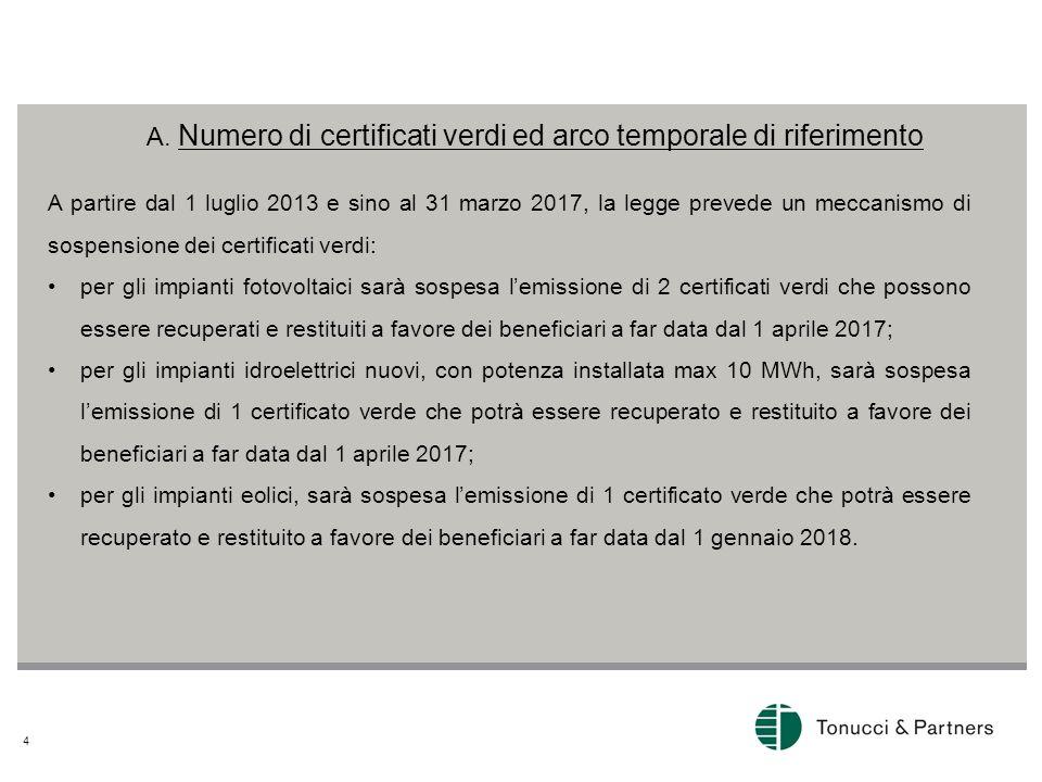 A. Numero di certificati verdi ed arco temporale di riferimento