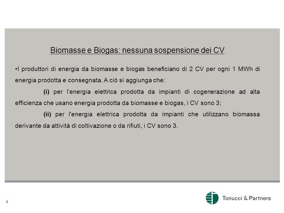 Biomasse e Biogas: nessuna sospensione dei CV