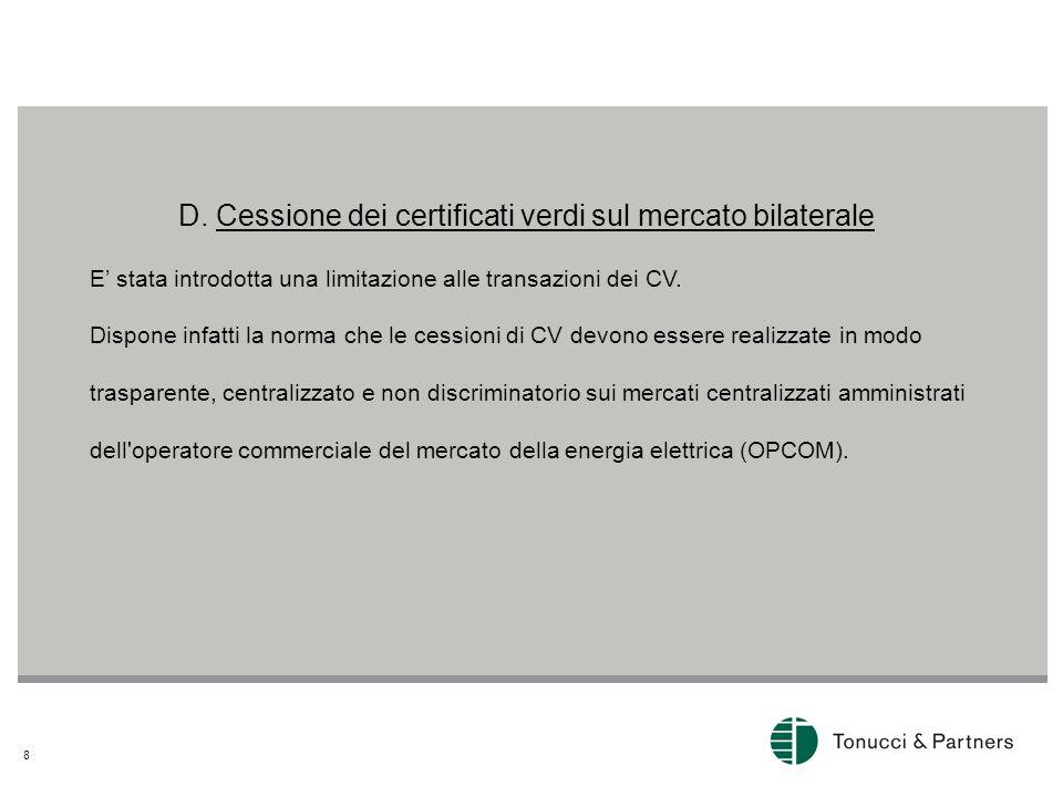 D. Cessione dei certificati verdi sul mercato bilaterale