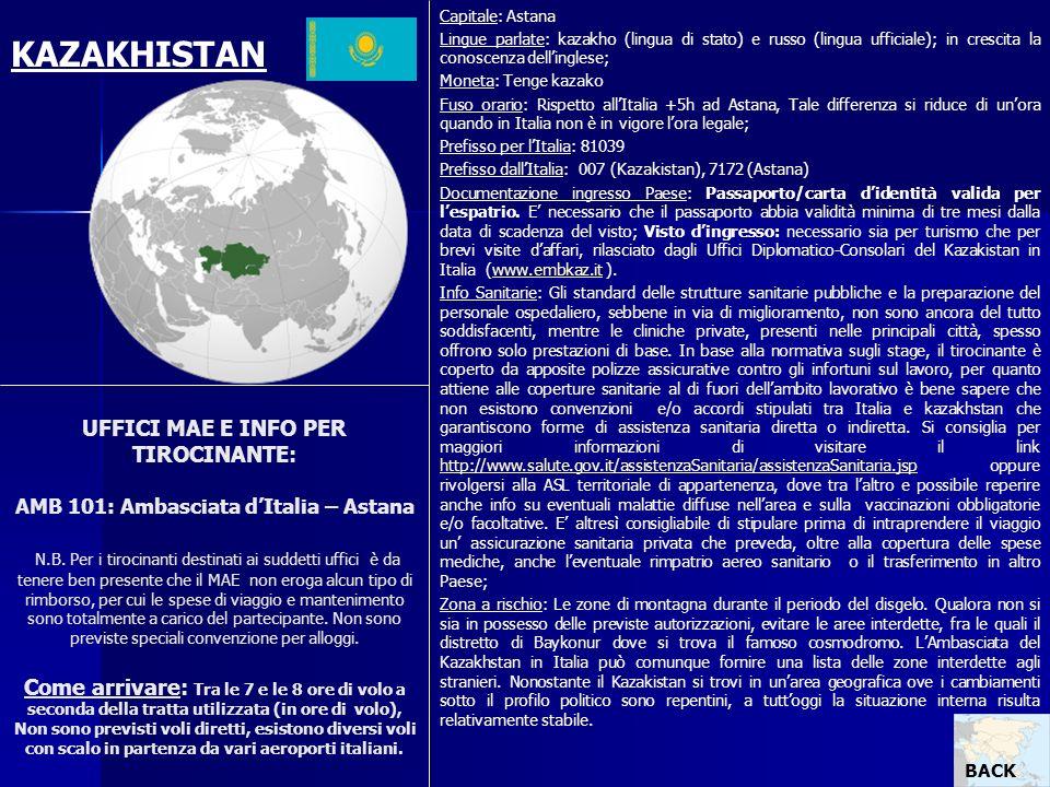 Capitale: Astana Lingue parlate: kazakho (lingua di stato) e russo (lingua ufficiale); in crescita la conoscenza dell'inglese;