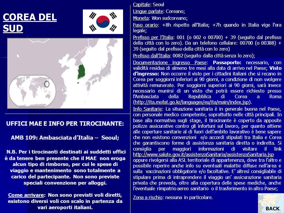 Capitale: Seoul Lingue parlate: Coreano; Moneta: Won sudcoreano; Fuso orario: +8h rispetto all Italia; +7h quando in Italia vige l ora legale;