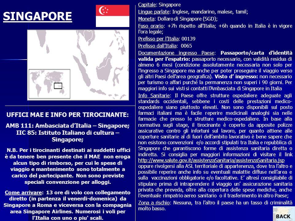 Capitale: Singapore Lingue parlate: Inglese, mandarino, malese, tamil; Moneta: Dollaro di Singapore (SGD);
