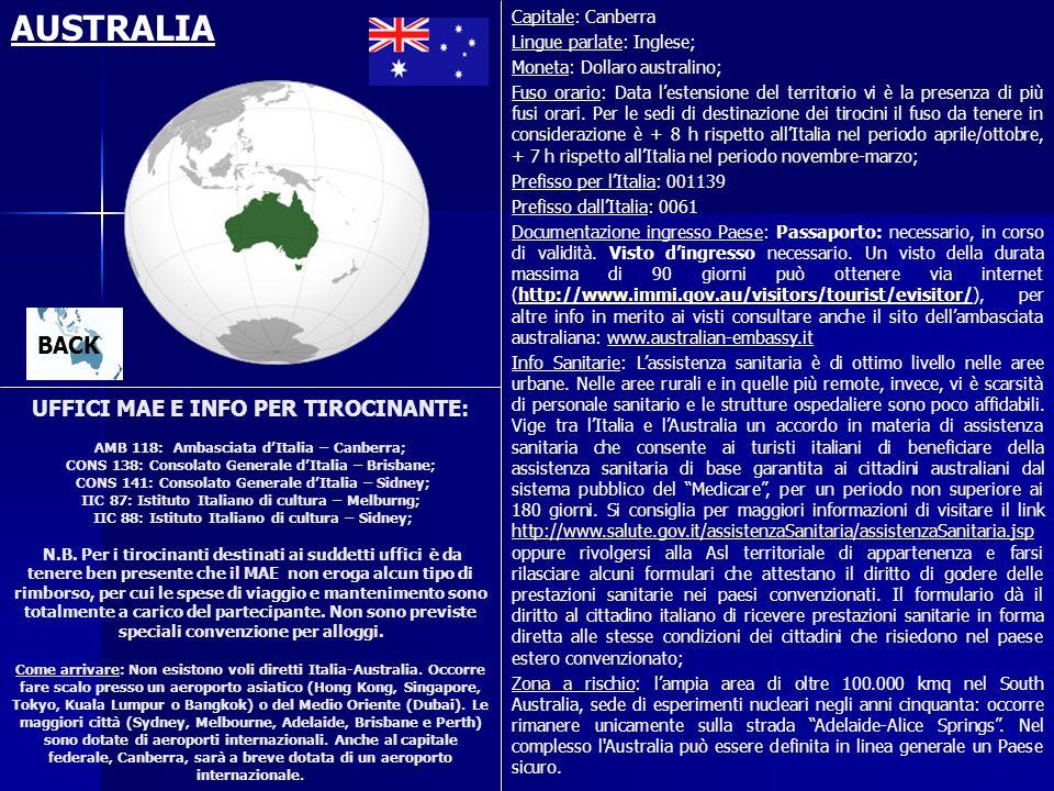 AUSTRALIA Capitale: Canberra. Lingue parlate: Inglese; Moneta: Dollaro australino;