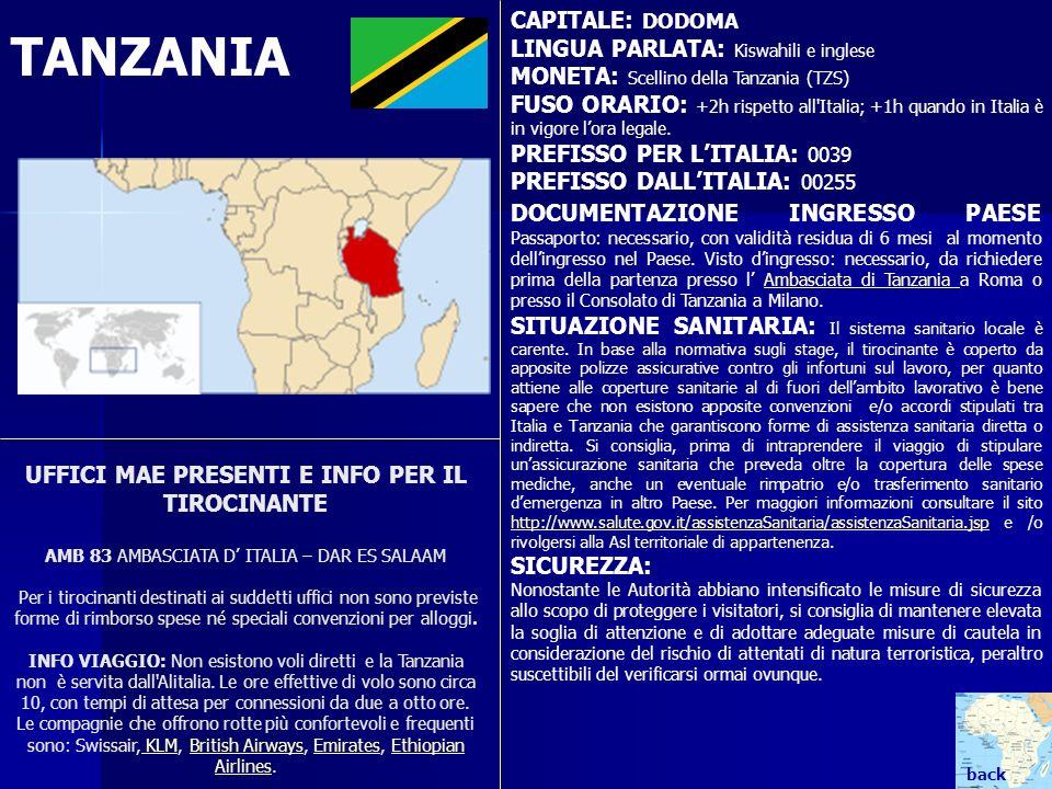 TANZANIA CAPITALE: DODOMA LINGUA PARLATA: Kiswahili e inglese
