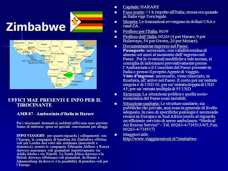 Zimbabwe UFFICI MAE PRESENTI E INFO PER IL TIROCINANTE