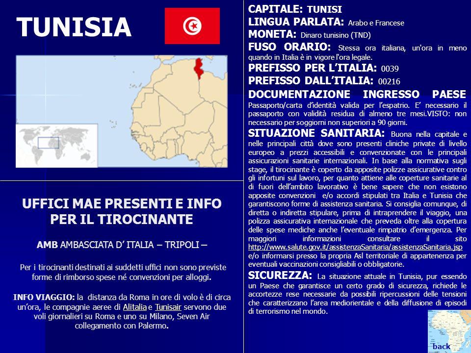 CAPITALE: TUNISI LINGUA PARLATA: Arabo e Francese. MONETA: Dinaro tunisino (TND)