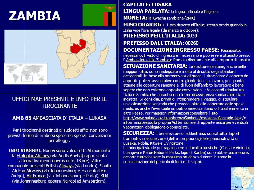 CAPITALE: LUSAKA LINGUA PARLATA: la lingua ufficiale è l inglese. MONETA: la Kwacha zambiana (ZMK)