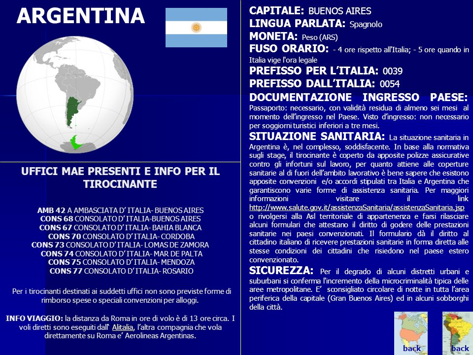 ARGENTINA CAPITALE: BUENOS AIRES LINGUA PARLATA: Spagnolo