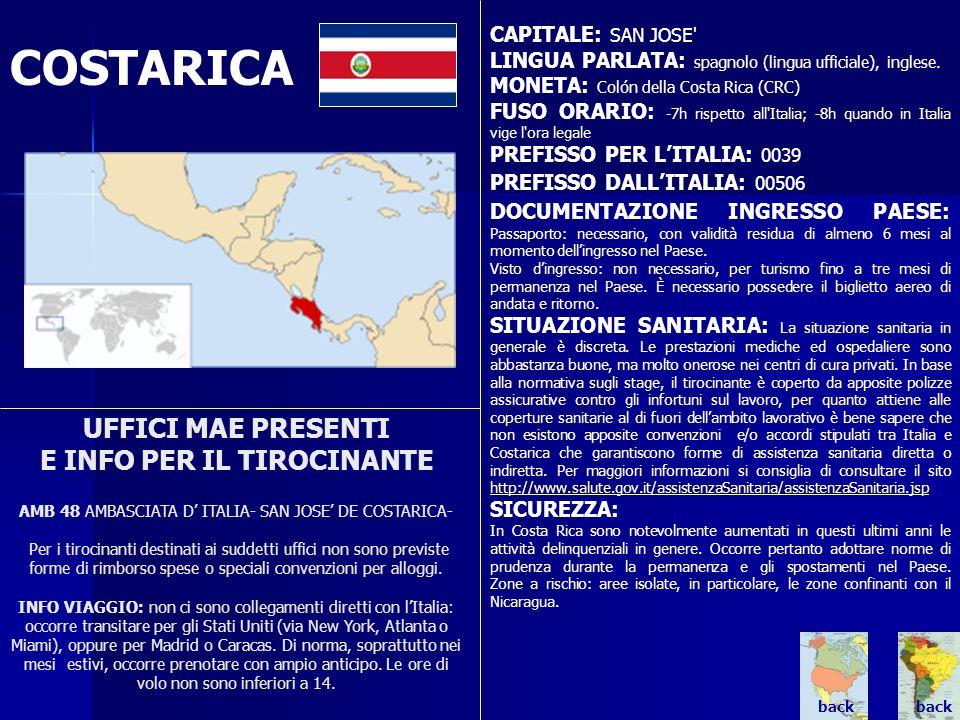 CAPITALE: SAN JOSE LINGUA PARLATA: spagnolo (lingua ufficiale), inglese. MONETA: Colón della Costa Rica (CRC)