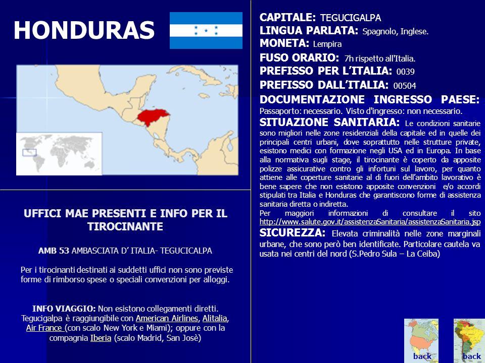 HONDURAS CAPITALE: TEGUCIGALPA LINGUA PARLATA: Spagnolo, Inglese.