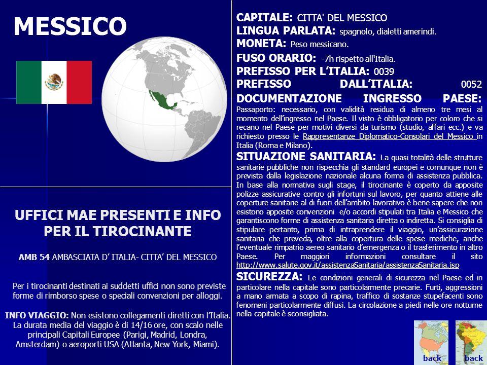 MESSICO CAPITALE: CITTA DEL MESSICO. LINGUA PARLATA: spagnolo, dialetti amerindi. MONETA: Peso messicano.