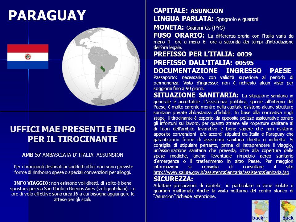 PARAGUAY CAPITALE: ASUNCION. LINGUA PARLATA: Spagnolo e guaranì. MONETA: Guaranì-Gs (PYG)