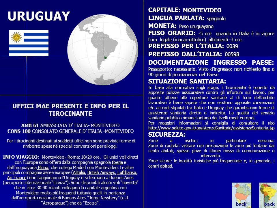 URUGUAY CAPITALE: MONTEVIDEO LINGUA PARLATA: spagnolo