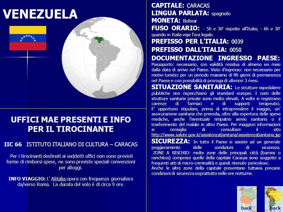CAPITALE: CARACAS LINGUA PARLATA: spagnolo. MONETA: Bolivar.