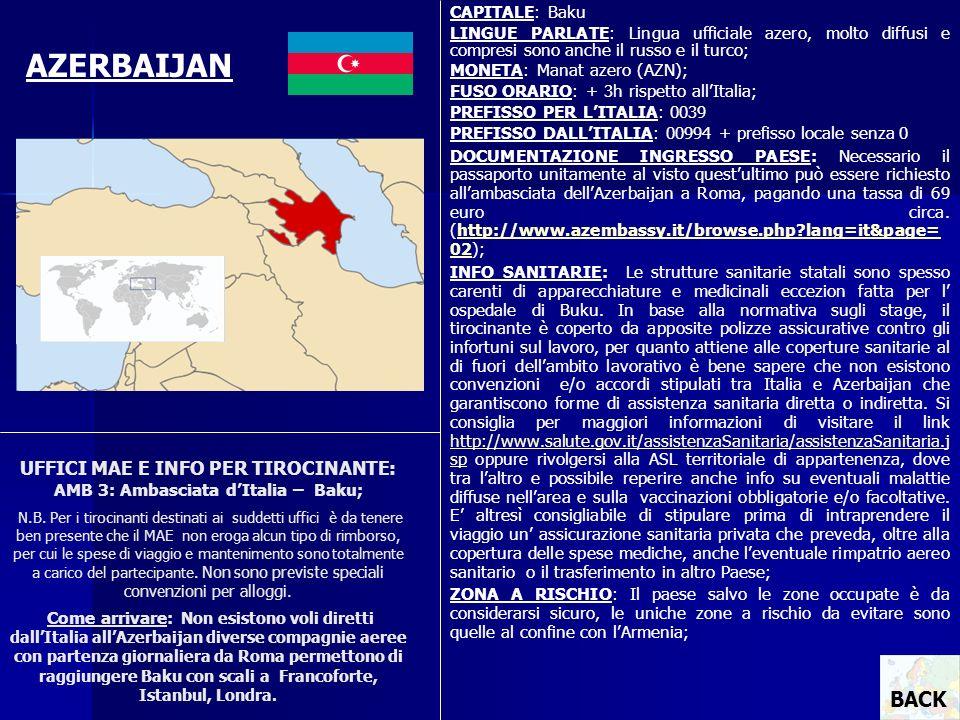 CAPITALE: Baku LINGUE PARLATE: Lingua ufficiale azero, molto diffusi e compresi sono anche il russo e il turco;