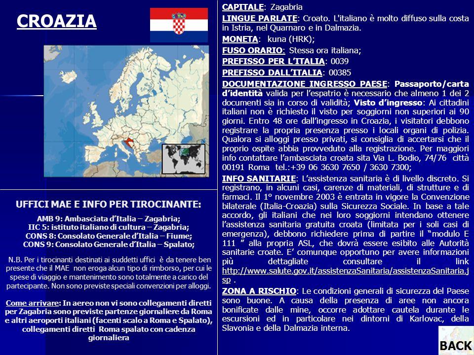 CAPITALE: Zagabria LINGUE PARLATE: Croato. L italiano è molto diffuso sulla costa in Istria, nel Quarnaro e in Dalmazia.