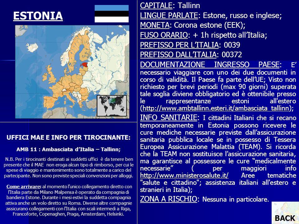 ESTONIA CAPITALE: Tallinn LINGUE PARLATE: Estone, russo e inglese;