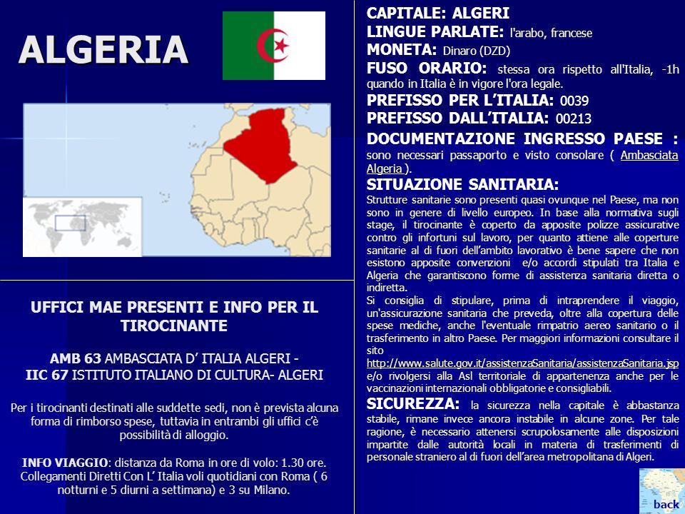 ALGERIA CAPITALE: ALGERI LINGUE PARLATE: l arabo, francese
