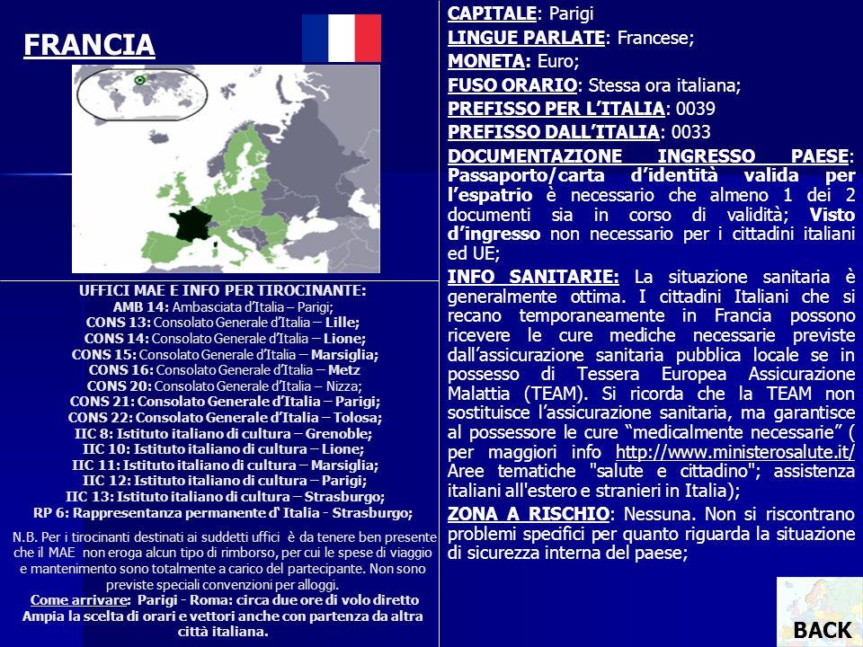 FRANCIA BACK CAPITALE: Parigi LINGUE PARLATE: Francese; MONETA: Euro;
