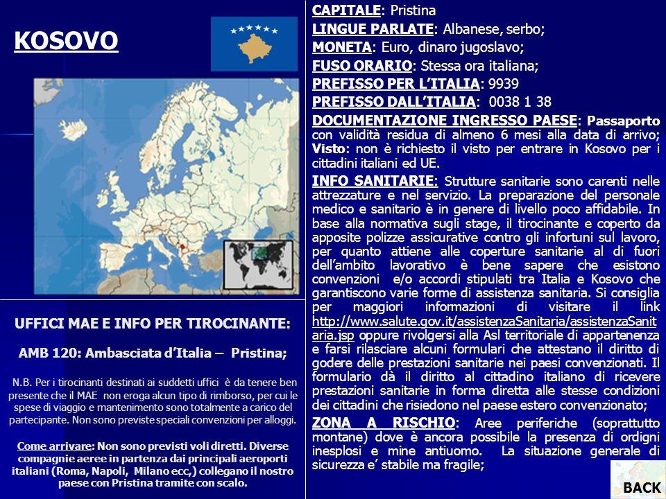 KOSOVO CAPITALE: Pristina LINGUE PARLATE: Albanese, serbo;