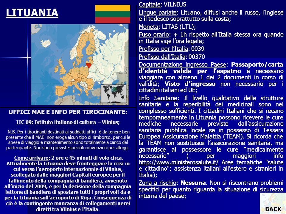 LITUANIA Capitale: VILNIUS